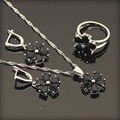 925 Sterling Silver Black Created Sapphire Women Jewelry Sets 925 Sliver Necklace Pendant Earrings Rings Free Gift Box