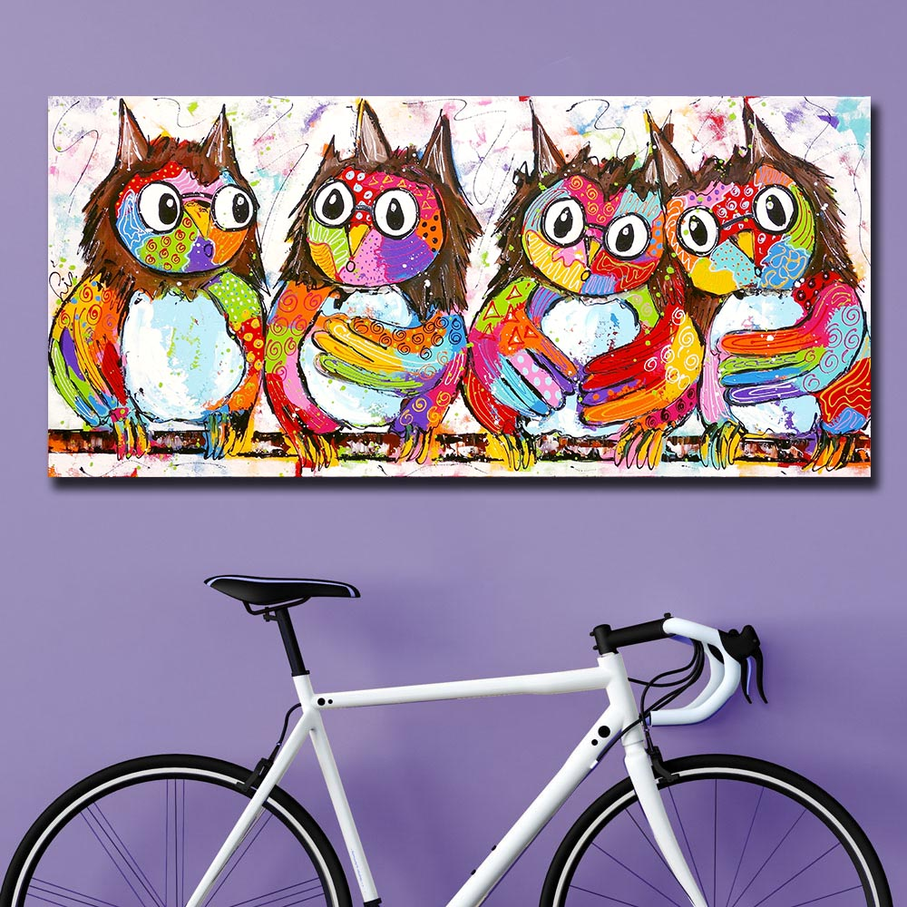 Mklql Large Size Oil Painting Pop Art Four Owls Home Decor On Canvas Modern Wall Art