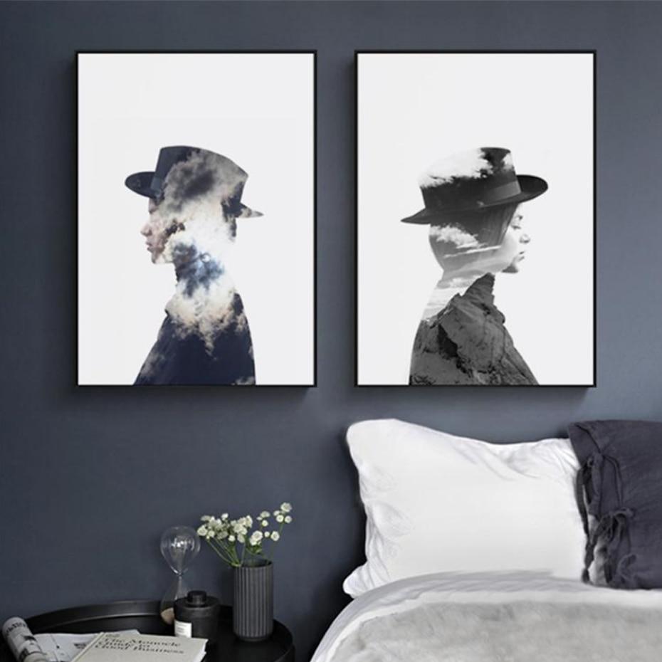Beautiful Black and white Fashion Scandi Art Ballerina bedroom office wall art