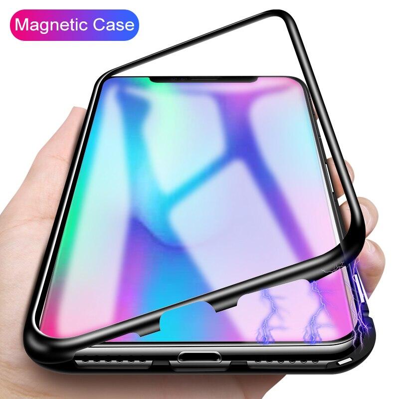 Magnéto Magnétique Adsorption Cas Pour Huawei P20 Pro P20 Lite Nova 3 Butoir En Métal Verre Cas Pour Samsung Galaxy Note 9 S9 S8 Plus