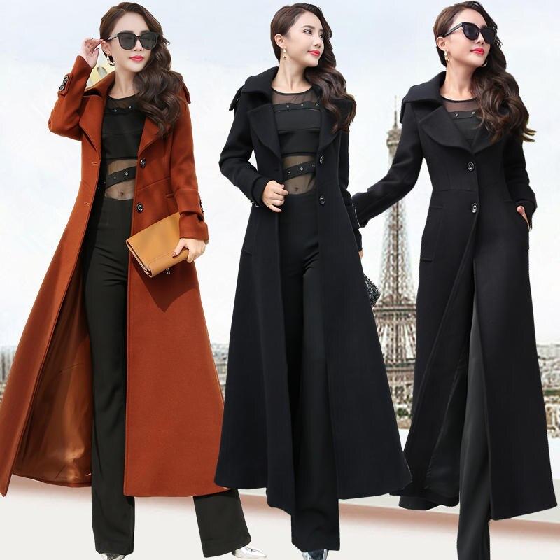 Plus Size 3XL Super Long Wool Coat Women Manteau Femme Fashion Elegant Winter Coat Women Lapel Warm Outerwear Women Parka C5128