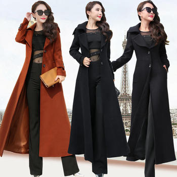 Plus Size 3XL Super Long Wool Coat Women Manteau Femme Fashion Elegant Winter Coat Women Lapel Warm Outerwear Women Parka C5128