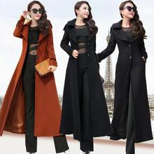 3XL スーパーロングウールコート女性ファムファッションエレガントな冬のコートの女性ラペル暖かい上着女性パーカー プラスサイズ c5128