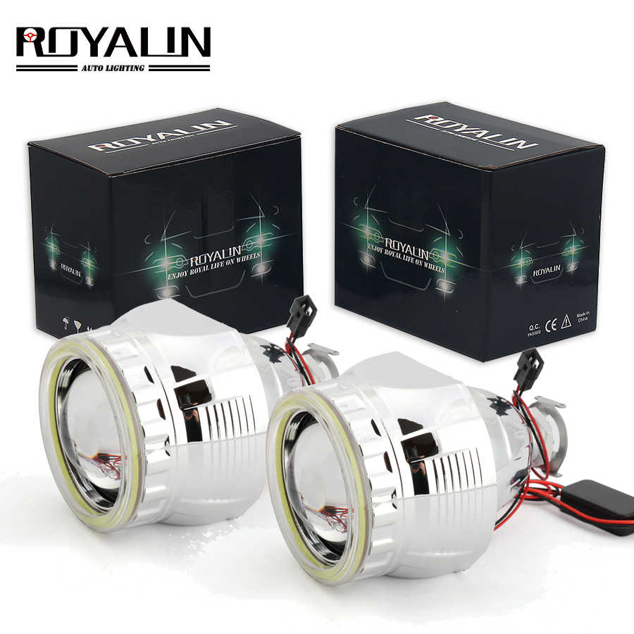 ROYALIN Car External Light Lenses for Audi A2 Citroen C1 Bixenon H1 Projector Headlight with White LEDs COB Angel Eyes for H4 H7