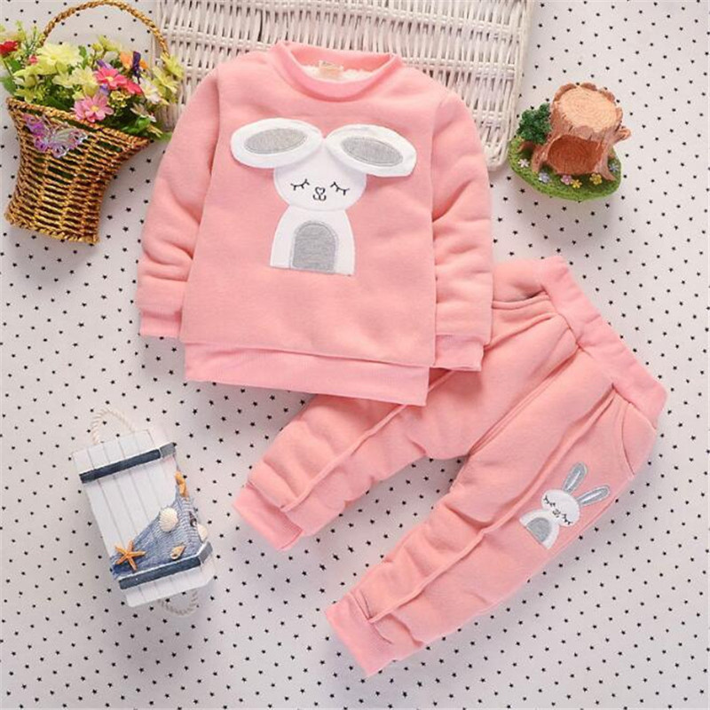 Baby Girls Clothing Set Children Plus velvet Thicken 2pcs Winter Clothes Set Kids Sports Suit Toddler Warm Tracksuit kids clothes autumn winter boys gold velvet clothing set school children warm thicken sport suit fashion kids tracksuit