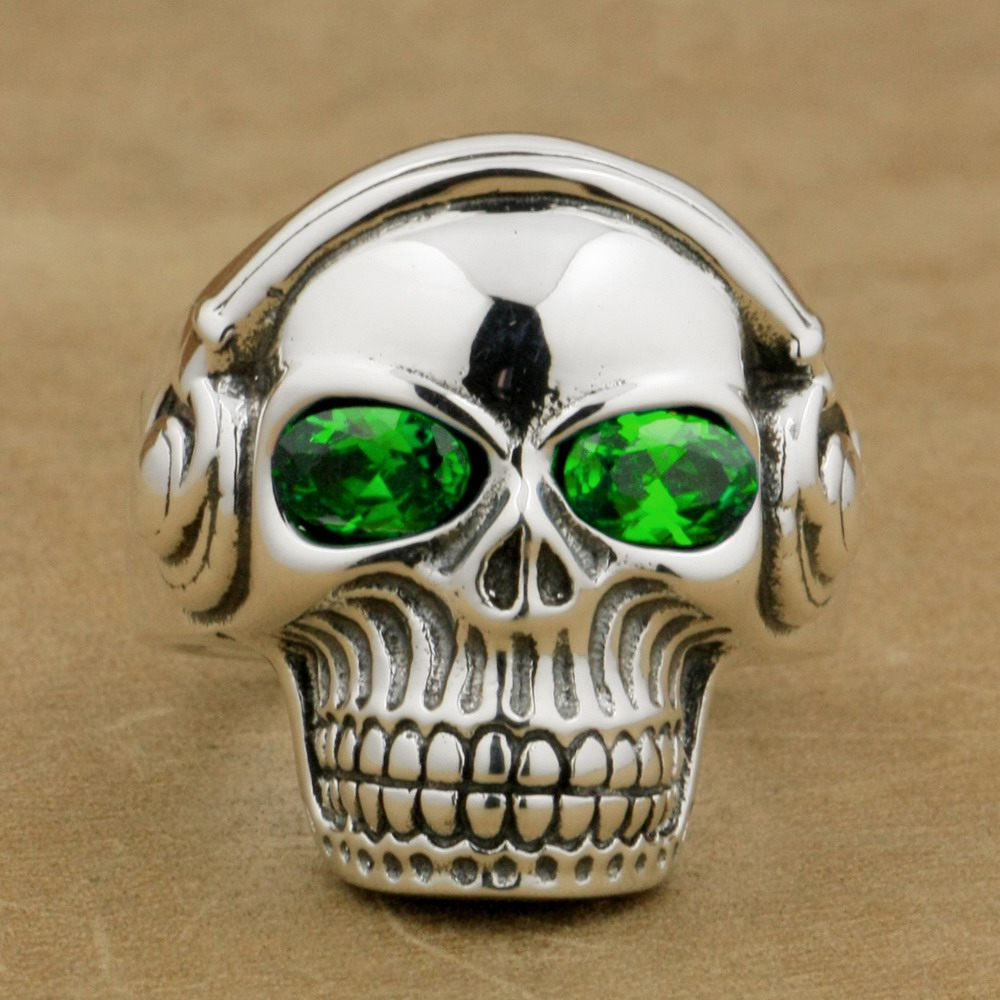 d778a5f5d9fb Green CZ Eyes 925 Sterling Silver DJ Skull Ring Studio Music Headphone  8Y811A