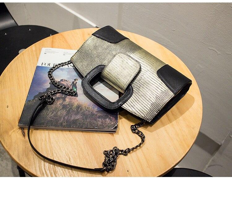 2017 nuevo bolso de cadena pequeña de cuero genuino negro oro plata - Bolsos - foto 4