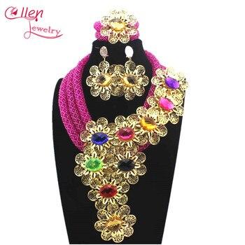 Royal Blue Luxury African beads jewelry sets india nigerian wedding beads flower beaded bridal necklace dubai jewelry sets 13795