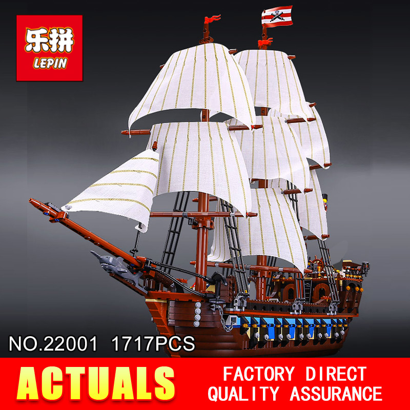 NEW LEPIN 22001 Pirate Ship warships Model Building Kits  Block Briks Boy Educational Toys Model Gift 1717pcs Compatible 10210 free shipping lepin 2791pcs 16002 pirate ship metal beard s sea cow model building kits blocks bricks toys compatible with 70810