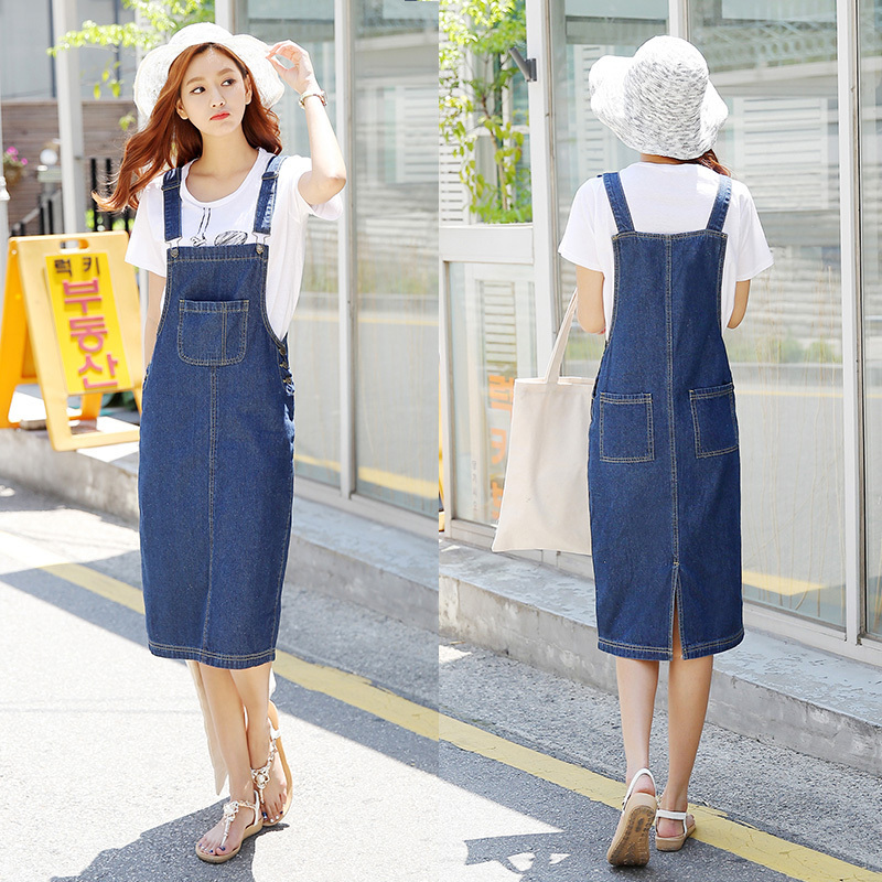 c10e7b46eeb Vintage 2016 Loose Sweet Jeans Dress Women Washed Short Suspender Denim  Sundress Denim Overall Dress-in Dresses from Women s Clothing on  Aliexpress.com ...