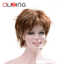 Alizing Synthetic Short Dark Brown Wigs, Natural Wave Curl Style Daily Ladies Wig Classic Cap Middle Old age Cute Hair