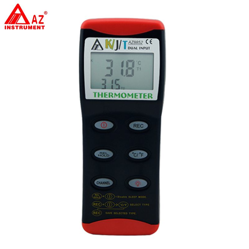 AZ-8852 Digital K/J/T RS232 Dual Input Thermocouple Thermometer mastech ms6514 dual channel digital thermometer temperature logger tester usb interface 1000 set data k j t e r s n thermocouple