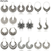 11 Types 2018 Vintage Round Circle Drop Dangle Earrings for Women Girl  Tribal Carved Piercing Earring 977965dff043