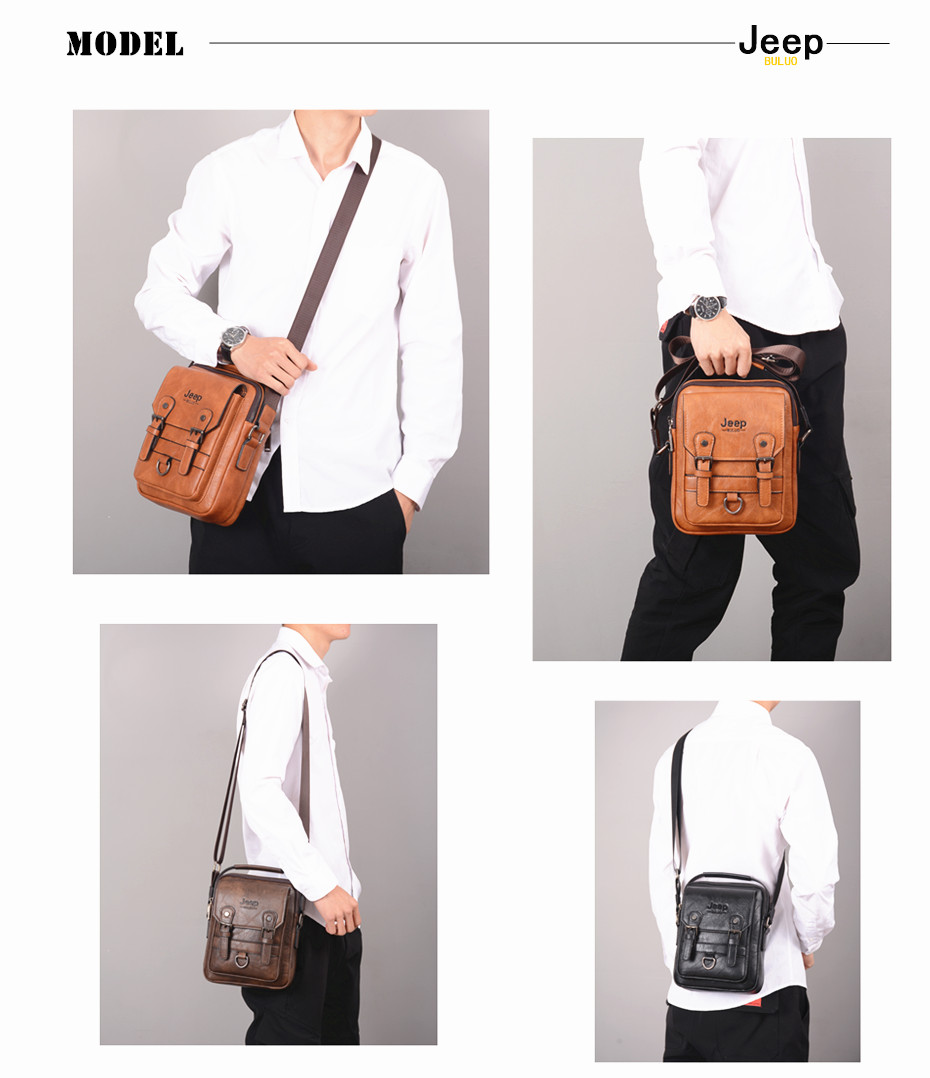 JEEP BULUO Multi-function Men Handbags New Man's Crossbody Shoulder Bag Large Capacity Leather Messenger Bag For Man Travel Cool 3