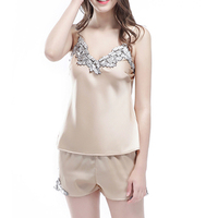Silk Satin Cami And Shorts Set Lace Artificial Silk Sleepwear SetsV Neck Sleepwear Summer Home Wear