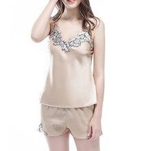 Silk Satin Cami and Shorts Set Lace Artificial Silk Sleepwear SetsV-neck Sleepwear Summer Home Wear Sleep Wear For Women GHQ03