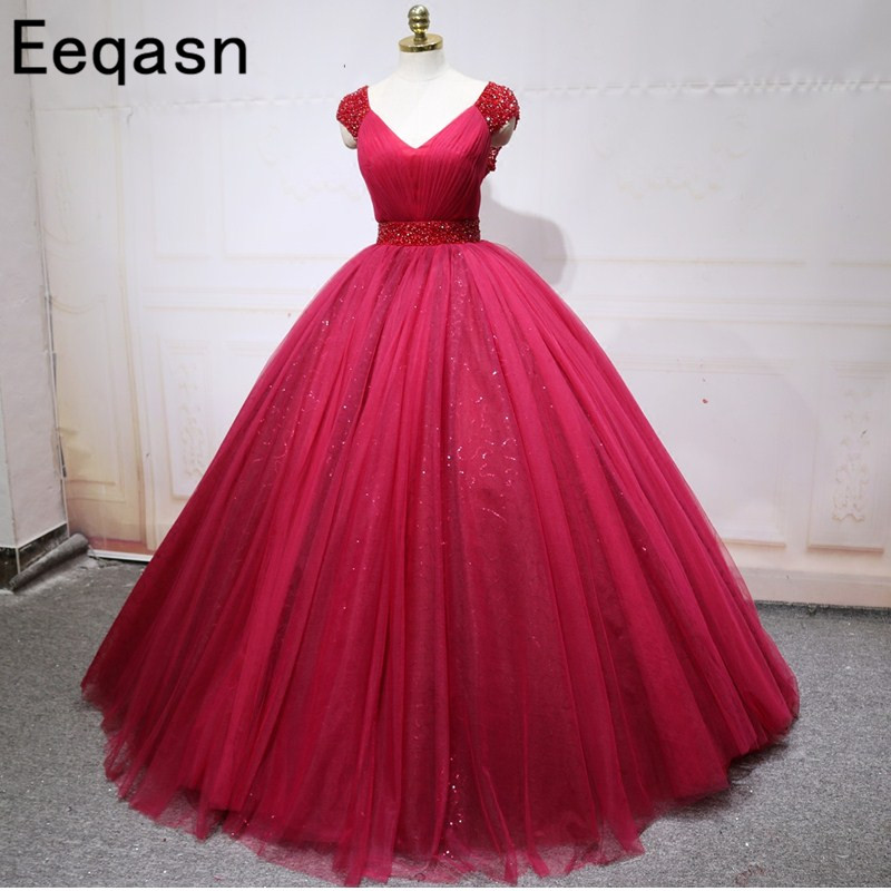 Eeqasn Long Princess Quinceanera Dresses Ball Gown Beaded Girls Masquerade Sweet 16 Dresses Ball Gowns Sexy Vestidos De 15 Anos