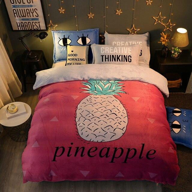Cartoon Style Pinele Bedding Set Winter Warm Bed Cover Sheet Pillowcase Fleece Fabric Comforter Sets