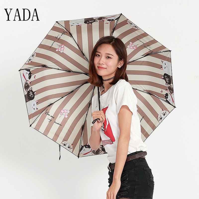 YADA Cartoon Kitten Cat Folding Umbrella Rain Women Uv High Quality Umbrella For Womens Brand Windproof Stripe Umbrellas YS331