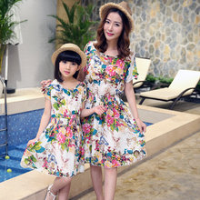 Mother Daughter Floral Print Dress Family Matching Outfits Fashion Mommy  and Me Long Dress Family Fitted d32c72e1abf0