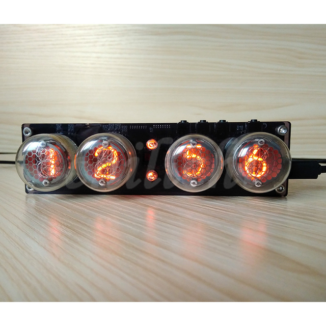 4-bit integrated glow tube clock QS30-1, SZ-8 clock glow tube with acrylic case and tubes,with remote control and LED Backlight