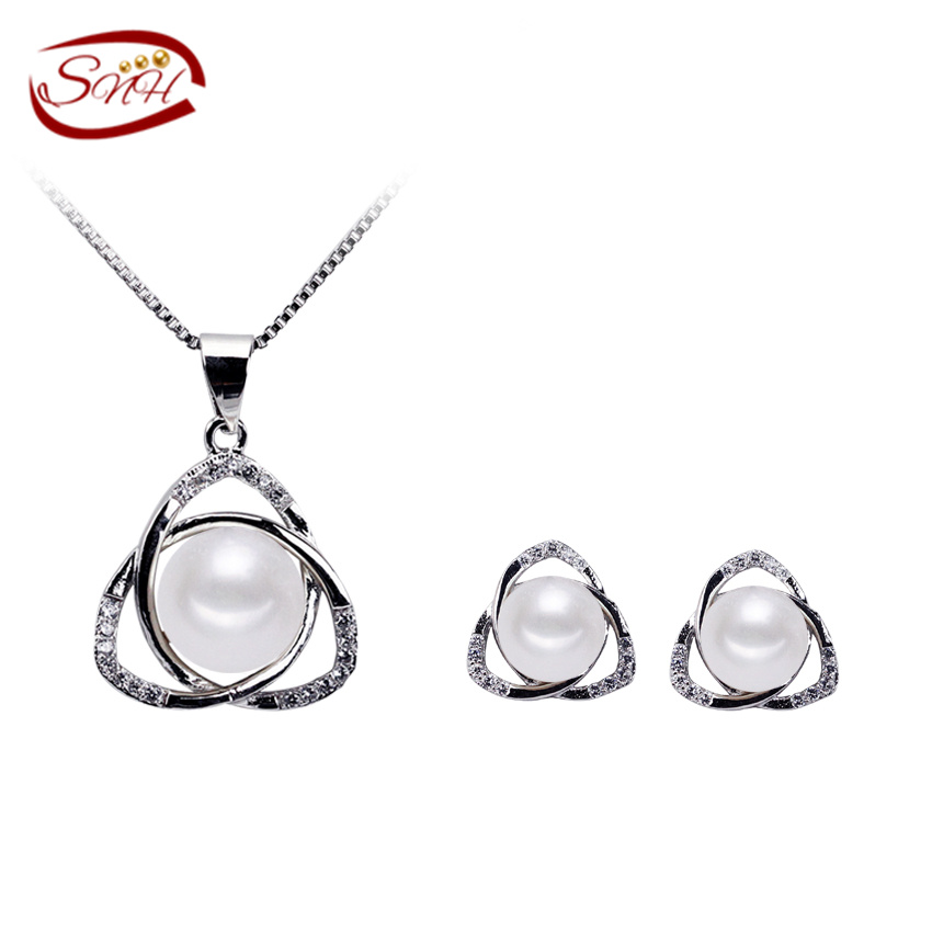 SNH 9mm button AAA Amazing price 925 sterling silver jewelry 100 real natural freshwater pearl jewelry
