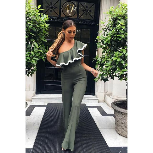 17fb38a48 Adogirl Elegant Ruffle One Shoulder Party Jumpsuits and Rompers Black Wine  Grey Plus Size Womens Fashion Office Lady Playsuits