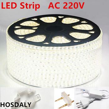 AC220V led taśmy led 3014 120led m wodoodporna IP65 taśma led z mocy plug1m3m5m50m100m led wstążka biały niebieska lampa led tanie i dobre opinie 8 64 w m 220 v 3000-7500K Epistar SQUARE HOSDALY 3014 waterproof 10000 ZAWSZE WŁĄCZONY 120pcs m Smd5050