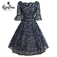 AZULINA Hot Fashion Autumn Elegant Lace Dress V Neck Bell Sleeve Bowknot Mini Dresses 1950s Women