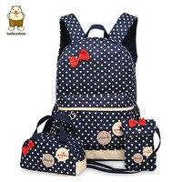 Magic Fish Girl School Bags For Teenagers Backpack Set Women Shoulder Travel Bags 3 Pcs Set