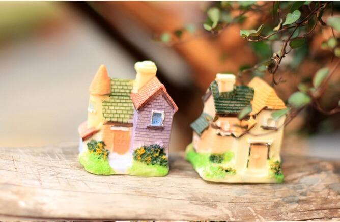 Random Style 1 PCS Fairy Garden Stone House Miniature Craft Micro Cottage  Landscape Decoration Resin Crafts