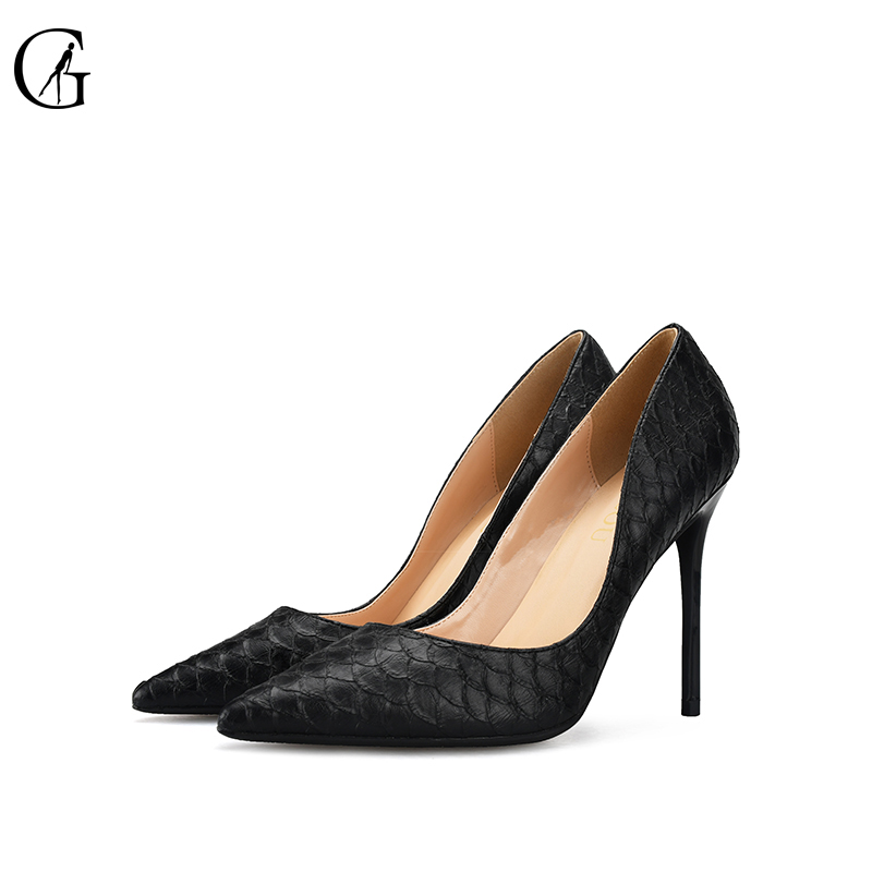 GOXEOU 2018 new shoes women size 32 46 Thin High Heels Sexy Pointed Toe Snakeskin Wedding Office Party Handmade Free Shipping