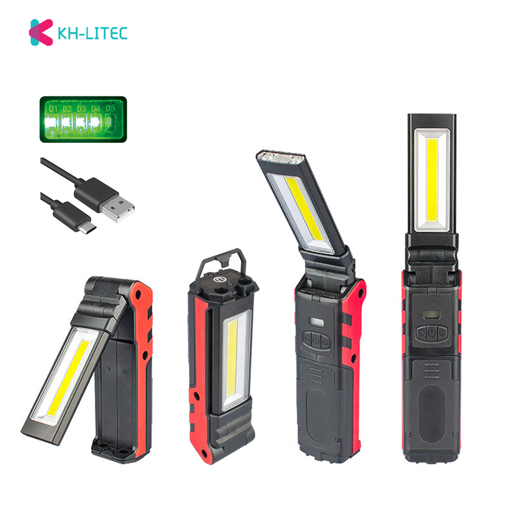 USB Rechargeable Working Light Dimmable COB LED Flashlight Inspection Lamp with Magnetic Base  amp  Hook Outdoor Power Bank