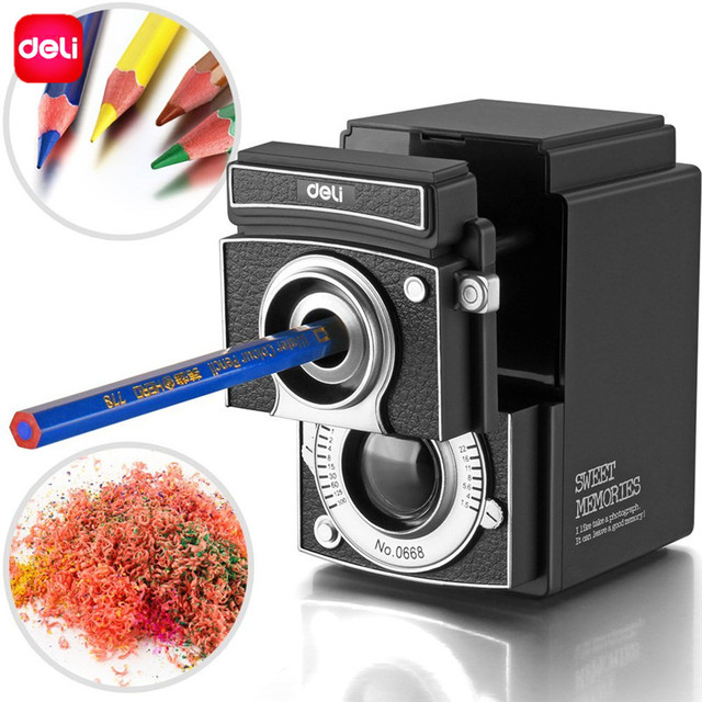 Deli Retro Camera Manual Pencil Sharpener Hand Cranking For Students Clroom Office Home Use Sweet Memories