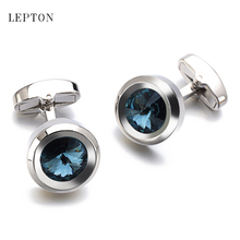 High Quality Dark Blue Crystal Cufflinks Luxury Lawyer Groom Wedding Cufflinks For Mens Shirt Cuff Links Gemelos Christmas Gift