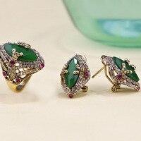 Sistemas de la Joyería de Moda Marca de lujo Turquía Turquía Verde Pendiente de Las Mujeres Conjuntos de Joyas Anillo de cobre Pendiente Anel conjuntos