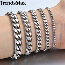 "3-11mm Men's Bracelets Silver Stainless Steel Curb Cuban Link Chain Bracelets For Men Women Wholesale Jewelry Gift 7-10"" KBM03(Hong Kong,China)"