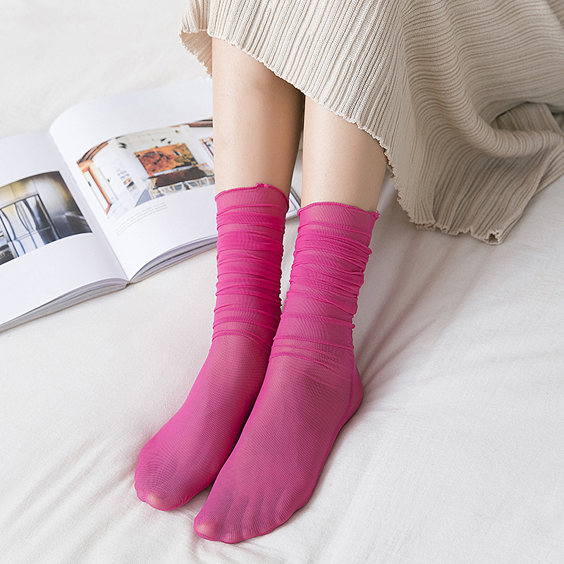 Woman Socks 1 Pair 2019 Summer New Fashion Socks Candy Color Women Soft Mesh Long Socks For Women Mesh Thin Socks