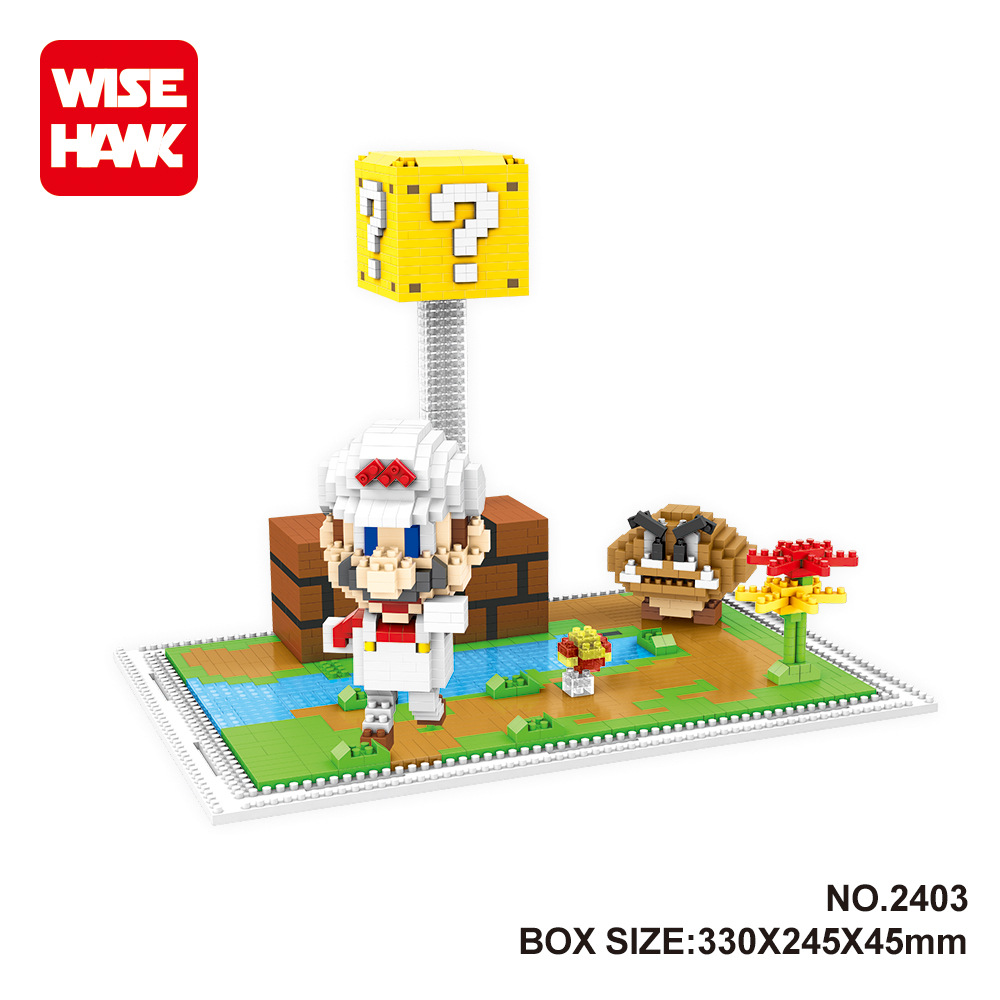 Wise Hawk Micro Blocks Mario DIY Educational Building Toys Arale 3d Small Auction figure Juguetes Boy Gifts Kids Toys 2403-2442 hot sale 1000g dynamic amazing diy educational toys no mess indoor magic play sand children toys mars space sand