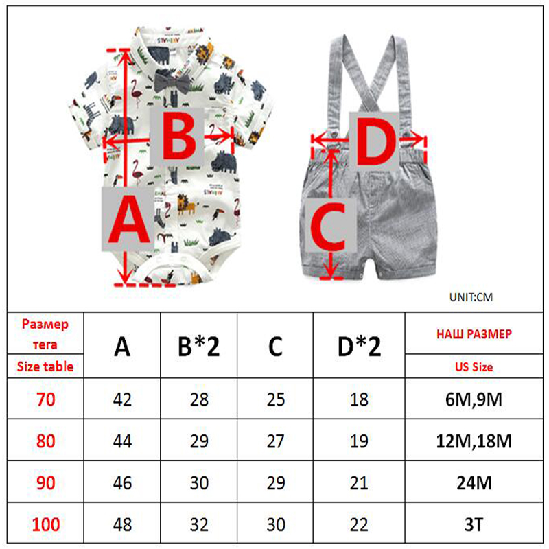 New Born Clothing Baby Boy Girl Animal Short Sleeve T-Shirt Tops+Grey Plaid Short Pants Outfit Casual Outfit Kids Rompers Sets 6
