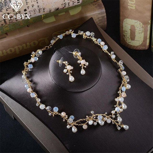 CC wedding Jewelry necklace stud earring sets party engagement accessories for bridal women pearl shine crystal luxury TL201