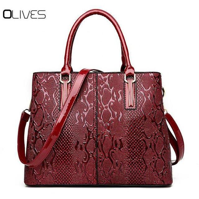 35f2f0f7e255 New Fashion PU Leather Women Bag Ladies Luxury Snake Shoulder Bags Designer  Handbags High Quality 2018