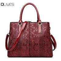 New Fashion PU Leather Women Bag Ladies Luxury Snake Shoulder Bags Designer Handbags High Quality 2018