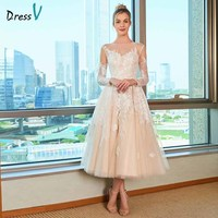 Dressv a line wedding dress scoop neck long sleeves appliques sequins lace tea length bridal outdoor&church wedding dresses