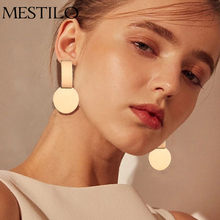 MESTILO New Fashion Geometric Square Round Coin Earrings For Women Fashion Punk Gold Indian Long Drop Earrings Jewelry Brincos(China)