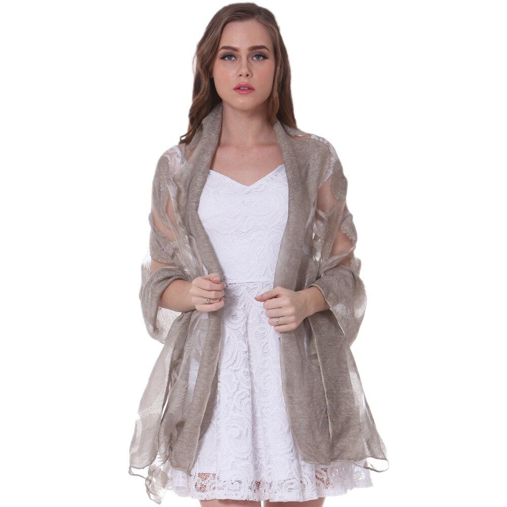 Fashion Silk Shawl Spring Summer Scarf Winter Fall Warpl Hijab Stole Top Quality Soft Shinny Lurex  Peacock Plume Luxury Brown|Women
