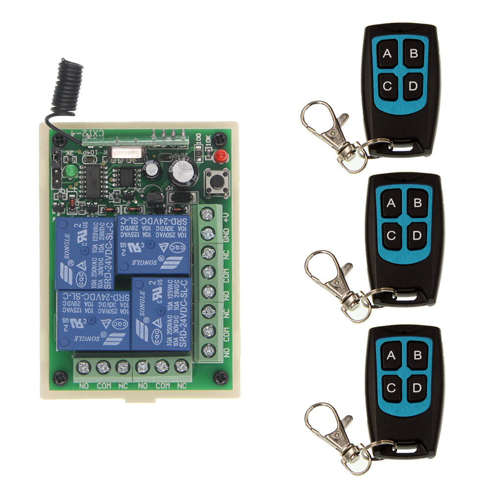 DC 12V 24V 4 CH 4CH RF Wireless Remote Control Motor Light Door Switch System,Waterproof Transmitter + Receiver,315/433 MHz