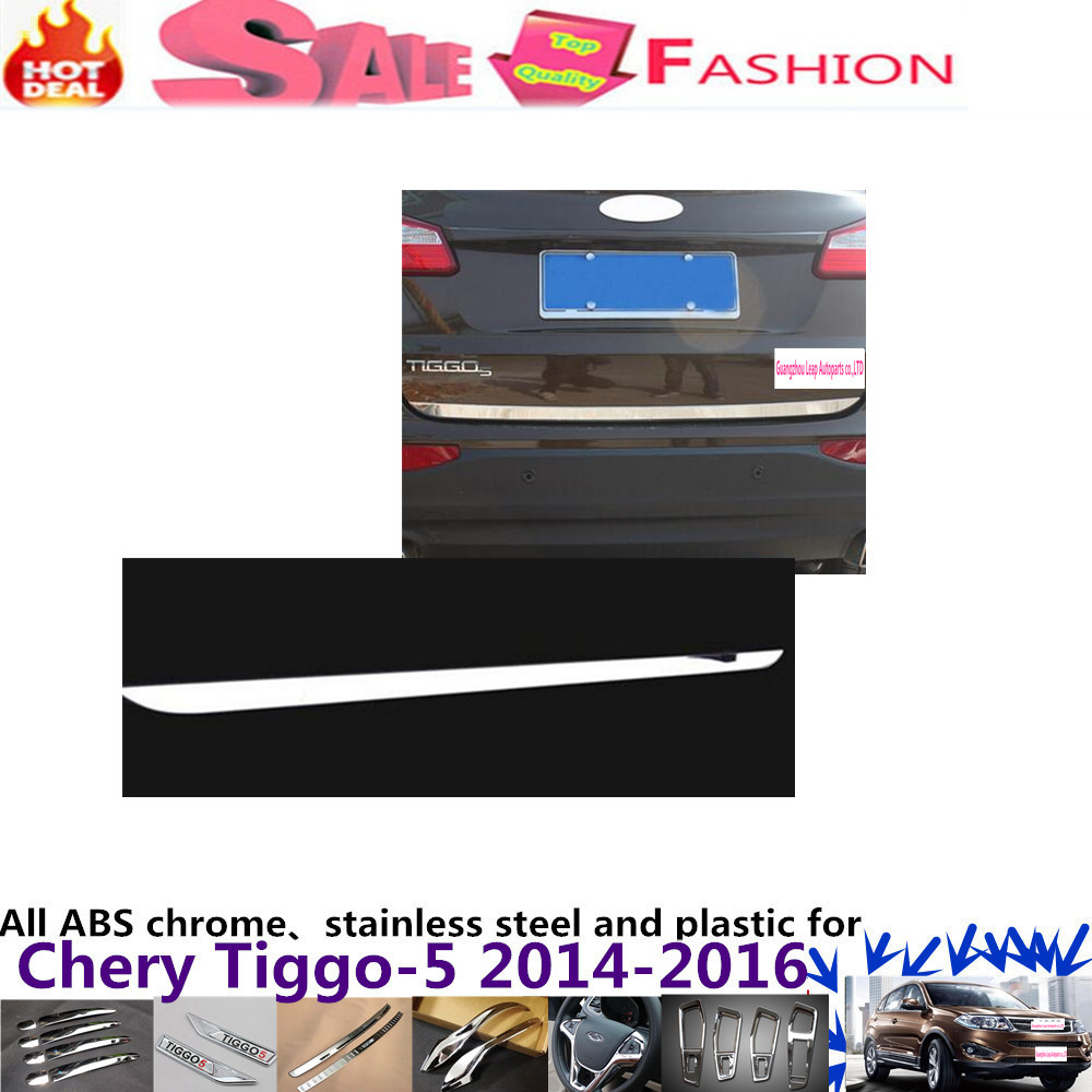 For Chery Tiggo 5 2014 2015 2016 Car bumper Sticks body styling stainless steel Rear door tailgate frame plate trim lamp 1pcs