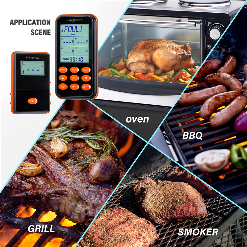 Inkbird Remote Wireless BBQ Thermometer IRF-4S Four Probes, 1000 Feet Signal, 1000mAh Li-Battery USB Charging Cable