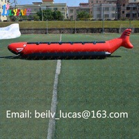 Custom inflatable shark boat inflatable banana boat water inflatable float design for sale
